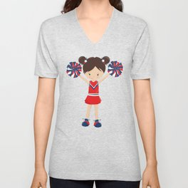 Cheerleaders, Girl With Brown Hair, Red Uniform Unisex V-Neck