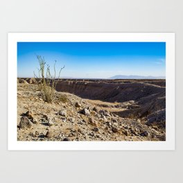 Lone Ocotillo Reaching up to the Blue Sky in front of a Gorge in the Anza Borrego Desert State Park Art Print