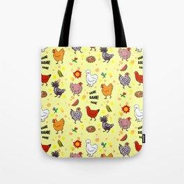 Cute seamless chickens pattern cartoon Tote Bag