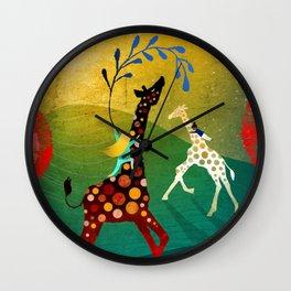 Racing Giraffes Wall Clock