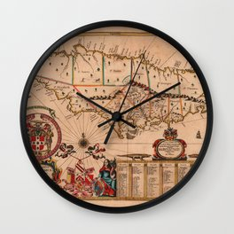 Map Of Jamaica 1671 Wall Clock