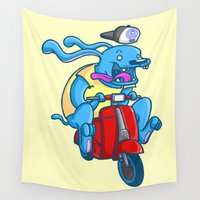 vespa Wall Tapestries featuring Blue dog / red vespa by Octofly Art
