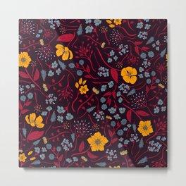 Mustard Yellow, Burgundy & Blue Floral Pattern Metal Print