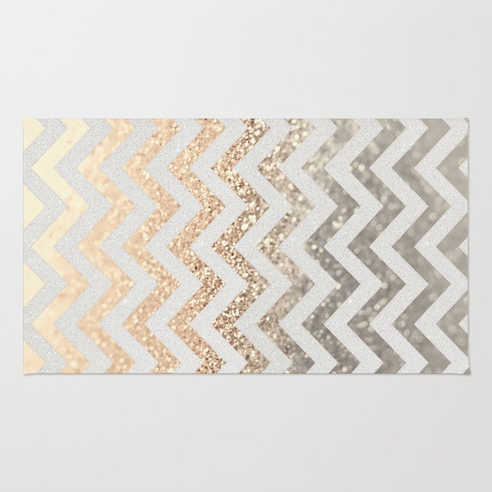 GOLD & SILVER CHEVRON Rug By Monikastrigel