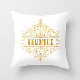 Gold Bibliophile Throw Pillow