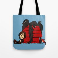 peanuts Tote Bags featuring Dragon Peanuts by le.duc