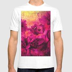 floral in deep pink and yellow White MEDIUM Mens Fitted Tee