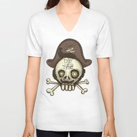 pirate V-neck T-shirts featuring pirate by adi katz