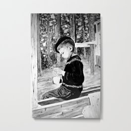 Little Boy With Coffee Cup Metal Print