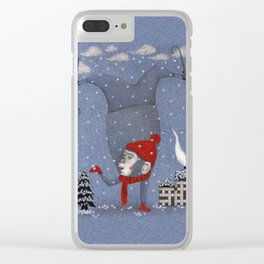 Monkey in the Snow Clear iPhone Case