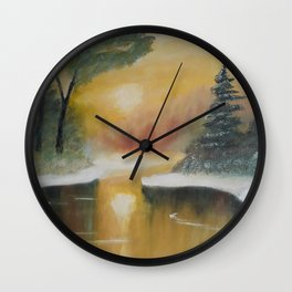 Snowy scenery at sunset, winter landscape, pine trees, frozen lake, original painting by Luna Smith Wall Clock