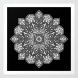 Mandala preta e branca Art Print
