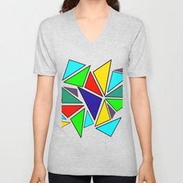 Colorful triangles Unisex V-Neck