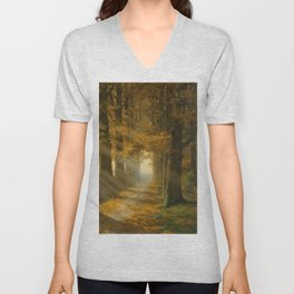 Early Morning Light, Autumn landscape painting by Max Ernst Pietschmann Unisex V-Neck
