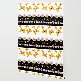 BLACK MODERN ART YELLOW BUTTERFLIES & WHITE DAISIES  ABSTRACT Wallpaper