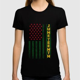 Juneteenth Freedom Day American Flag with African Colors T-shirt