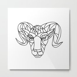 Bighorn Sheep Ram Mosaic Black and White Metal Print
