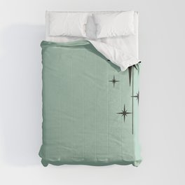 1950s Atomic Age Retro Starburst in Mint Green and Black 2 Comforters