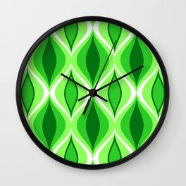 Mid-Century Modern Diamonds, Emerald & Lime Green Wall Clock