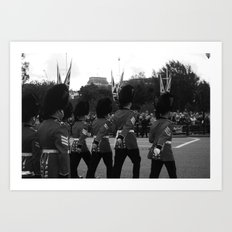 Guards Stand to Attention, b&w Art Print