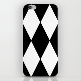LARGE BLACK AND WHITE HARLEQUIN DIAMOND PATTERN iPhone Skin