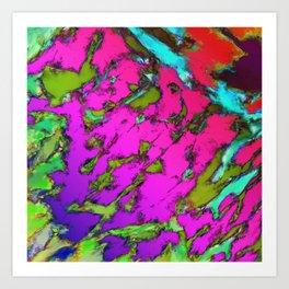 Shattering pink tigers Art Print