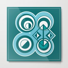 Striped Blue White and Teal Falling Eccentric Circles Abstract Art Metal Print