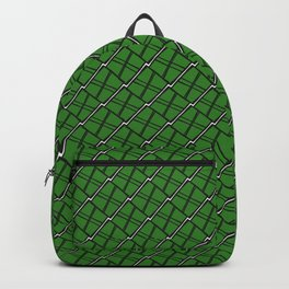 Royal square tile made of green rhombuses with white gaps. Backpack