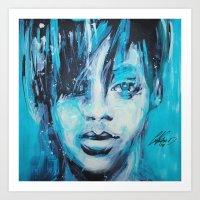 rihanna Art Prints featuring Rihanna by Nechifor Ionut