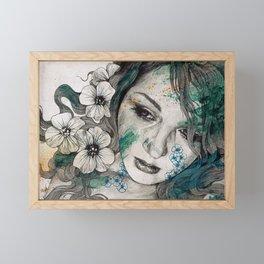 Cleopatra's Sling (flower tattoo lady portrait drawing) Framed Mini Art Print