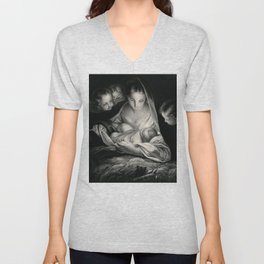The Nativity, Virgin Mary with Infant Jesus surrounded by Angels Unisex V-Neck