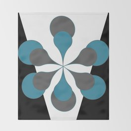 Mid-Century Modern Art 1.4B Grey Aqua Flower Throw Blanket