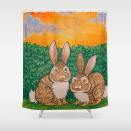 Rabbits in the Bushes Shower Curtain