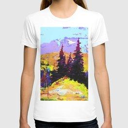 Decorative Abstract Blue Purple Landscape Art T-shirt