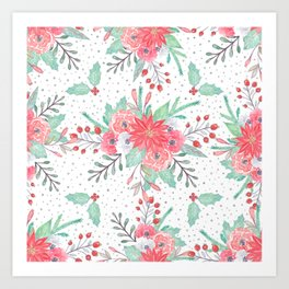 Pretty watercolor Christmas floral and dots design Art Print