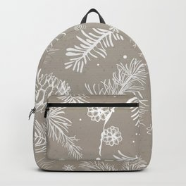 Beige and white Christmas pattern snowflakes, pine trees, fir Backpack