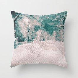 Winter wonderland. Halftone effect Throw Pillow