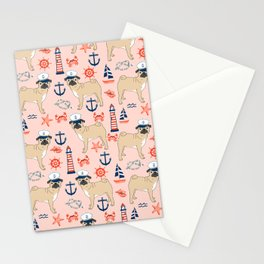 Pug nautical anchor sailing lighthouses dog breed pet portraits by pet friendly Stationery Cards