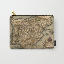 Antique Map of Spain, by Abraham Ortelius, circa 1570 Carry-All Pouch