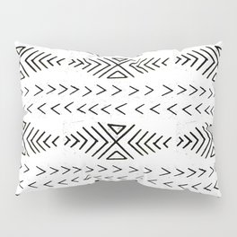 Mudcloth black and white linocut pattern geometric minimal modern trendy design Pillow Sham