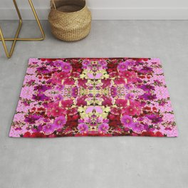 PINK ART DESIGN  OF PINK & RED HOLLYHOCKS  GARDEN Rug