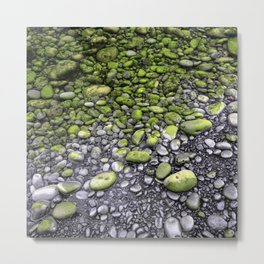 Green & Gray Pebbles Metal Print