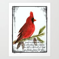 scripture Art Prints featuring Cardinal with Scripture  by Melanie Dorsey Designs