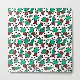Green Cactus Floral Hexagon Pattern Watercolor Metal Print