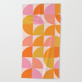 Mid Century Mod Geometry in Pink and Orange Beach Towel
