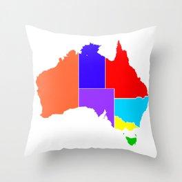 Australia States In Colour Silhouette Throw Pillow