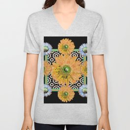 Peachy Orange Gerbera & White Daisy Black Pattern Art Unisex V-Neck