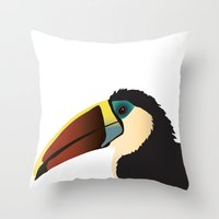 toucan Throw Pillows featuring Toucan by Frida Strömshed