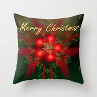 merry christmas Throw Pillows featuring Merry Christmas by Roger Wedegis