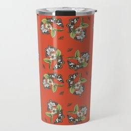 Butterflies and Camellias on Red Pattern Travel Mug